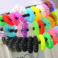 12x Girl Elastic Rubber Hair Ties Band Rope Ponytail Holder Black Hairband Cute