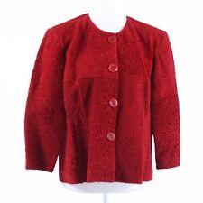Red textured fur AUDREY TALBOTT 3/4 sleeve jacket L