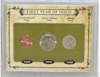U.S. Mint 1959 Lincoln Memorial Penny 1979 Anthony Dollar 1938 Jefferson Nickel