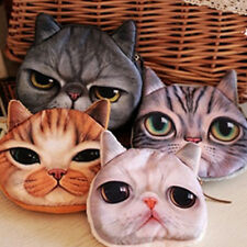 Children Kids Cute Cat Face Zipper Coin Purse Wallet Makeup Mini Bag Pouch