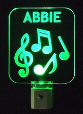 "Personalized Musician Musical Notes LED Night Light,  3/8"" Acrylic Handmade"