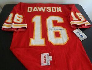 LEN DAWSON Kansas City CHIEFS Football SIGNED Vintage Wilson Size 44 Jersey NEW