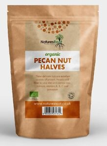 Certified Organic Raw Pecan Nut Halves - Natural Premium Quality Nuts ALL SIZES