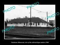 OLD LARGE HISTORIC PHOTO OF SANDSTONE MINNESOTA, THE RAILROAD DEPOT c1960