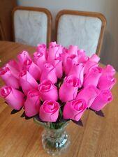 3 DOZEN - PINK - WOODEN ROSE BUDS 5 X 8 ARTIFICIAL FLOWERS - FREE SHIPPING