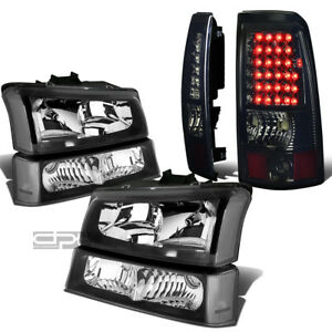 FOR 03-07 SILVERADO BLACK HEADLIGHT+CLEAR BUMPER+CHROME SMOKE LED TAIL LIGHT KIT