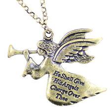 Vintage style bronze angel pendant necklace. Psalm 91 inscription