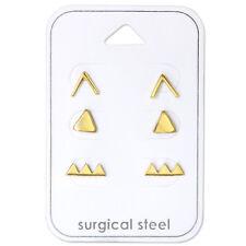 Gold Arrow Triangle Geometric Cupid Set of 3 Stud Earrings Women Girls Children