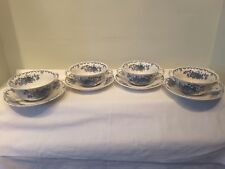 A Set of Four Mason's Fruit Basket Blue Multi Colored Soup Cups and Saucers