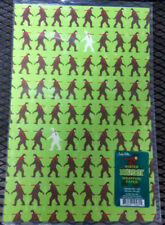 "New! Bigfoot theme Gift Wrap 2 sheets per pack 20""x30""  Hipster Bigfoot w/ scarf"