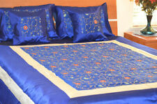 Blue Silk Bed Cover Flat Sheet Sham set hand embroidered full Queen from India