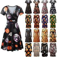 Womens Skull Pumpkin Halloween Dress Casual Party Swing Dresses Cosplay Costumes
