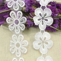 2 yards Water soluble lace Flower Edge Trim Gathered DIY Ribbon Sewing_L5