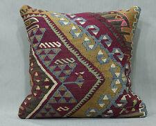16x16 Faded Color Kilim Rug Pillow Cover Antique Anatolian Kelim Cushions 40X40