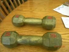 Pair Set Two 5 Pound Cast Iron Metal Hex Weights Dumbbells 10 Lbs Total