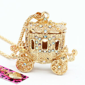 Women's Crystal Gold Carriage Pendant Sweater Chain Betsey Johnson Necklace