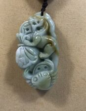 Handcrafted knot work cord adjustable jade carved lion and crab pendant/necklace