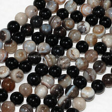 "Wholesales 10 strands x 10mm Black Stripe Band Agate Onyx Round Beads 16"" GB200"