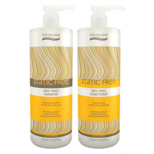 Natural Look Static Free Anti-Frizz Shampoo & Conditioner 1000ml Vegan SLS Free