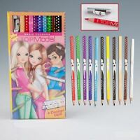 TOPModel Coloured Pencil Set C 12 Different Coloured Pencils and New Sharpener