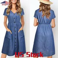 US Women Elastic Waist V Neck Casual Denim Jeans Button Dress Beach Midi Skirt