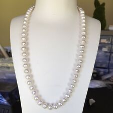100% natural freshwater 9.5-10mm pearl necklace 55cm length AA Good  Luster
