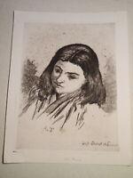 Antonio XIMENES (Palermo 1829-1896) GRAVURE PORTRAIT FILLE SICILIA ITALIE 1880