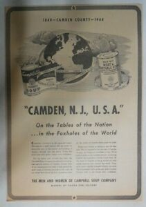 Campbell's Soup Ad: Camden New Jersey USA  ! from 1940's 10 x 14 inches