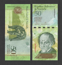 VENEZUELA 50 BOLIVARES 2015 SIMON-RODRIGUEZ CRISP UNCIRCULATED CURRENCY NOTE