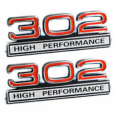 "302 5.0L Engine High Performance Engine Emblems in Red & Chrome - 4"" Long Pair"