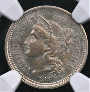 1867 THREE CENT NICKEL NGC MS 62 SUPER PLEASING WITH A GREAT STRIKE AND LOVELY