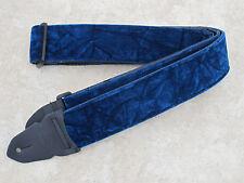 """LM Guitar Strap CRUSHED VELVET BLUE 2"""" Wide Leather Ends Adjustable / PS-3CV-BL"""