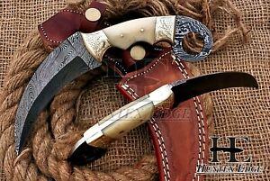 HUNTEX New Custom Handmade Damascus 230mm Long Camel Bone Hunting Karambit Knife
