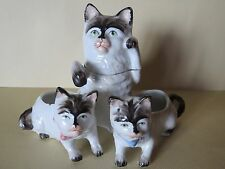 Antique Vtg mother cat and kittens smoke match Set~bisque Cover 3 1/2""