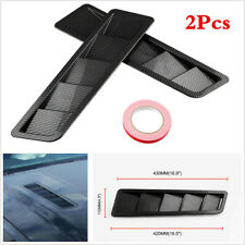 Universal 2Pcs Carbon Pattern Car Hood/Bonnets Air Vent Louver Panel Trim ABS