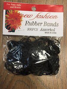 300 Psc  Black Mini Rubber Hair Elastic Bands -Braids/Dreadlocks Hair Bands