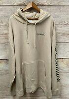 "Columbia Sweatshirt Mens 6X (74"" Chest) Beige Viewmont II Pullover Hoodie New"