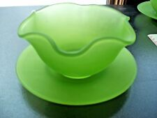 LIME GREEN SATIN GLASS FRUIT or SALAD BOWL & SAUCER