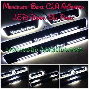 4pcs WHITE Mercedes-Benz CLA C117 C118 Animated Moving LED Car Door Scuff Plates