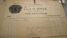 J.M. SHIVE THE RB CIGAR CO 1921 PENNSYLVANIA PA TOBACCO INVOICE RECEITP
