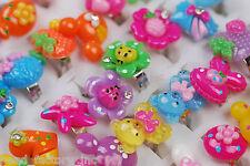 Wholesale Jewelry 20ps Cute Cartoon Children's Girl's Resin Crystal Adjust Rings
