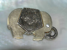 Estate Thick Etched Gray Elephant with Bumpy SIlvertone Blanket & Rhinestone Eye