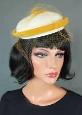 Vintage Pillbox Hat White Faux Fur Yellow Velvet Tulle Netting Cap Fascinator