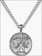 Janus Pendant and Chain Silverplate Janus Symbol Charm Necklace in Silverplate