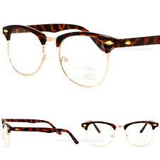 Classic Vintage Eyeglasses Retro Fashion New Mens Women Gold Brown Clear Lens