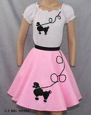 """3 Piece Pink 50's Poodle Skirt outfit Girl Sizes 7,8,9,10 W 20""""-26"""""""