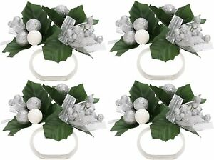 """Christmas Concepts® 9cm (3.5"""") Silver Floral Napkin Rings - Pack of 4 - C87X4"""