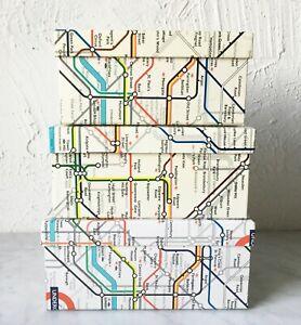 "London Underground Tube Map Set of 3 Nesting Boxes -Outer Box 8.75"" x 5.75"" x 4"""