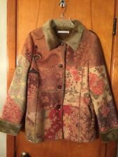 Passion Concept Taupe Floral Faux Fur Lined Jacket M/L