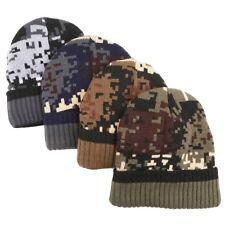 Camouflage Army Camo Beanie Cap Knit Winter Warm Cuffed Mens Women's Ski Hat MP